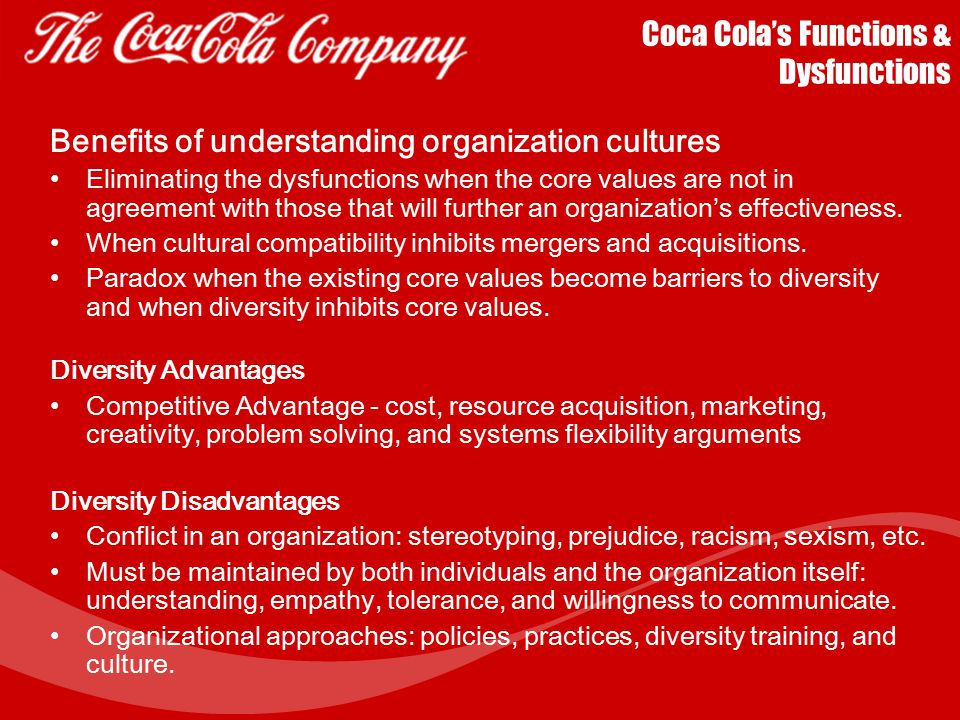 Coca Cola's Functions & Dysfunctions