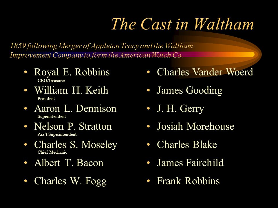 The Cast in Waltham Royal E. Robbins William H. Keith