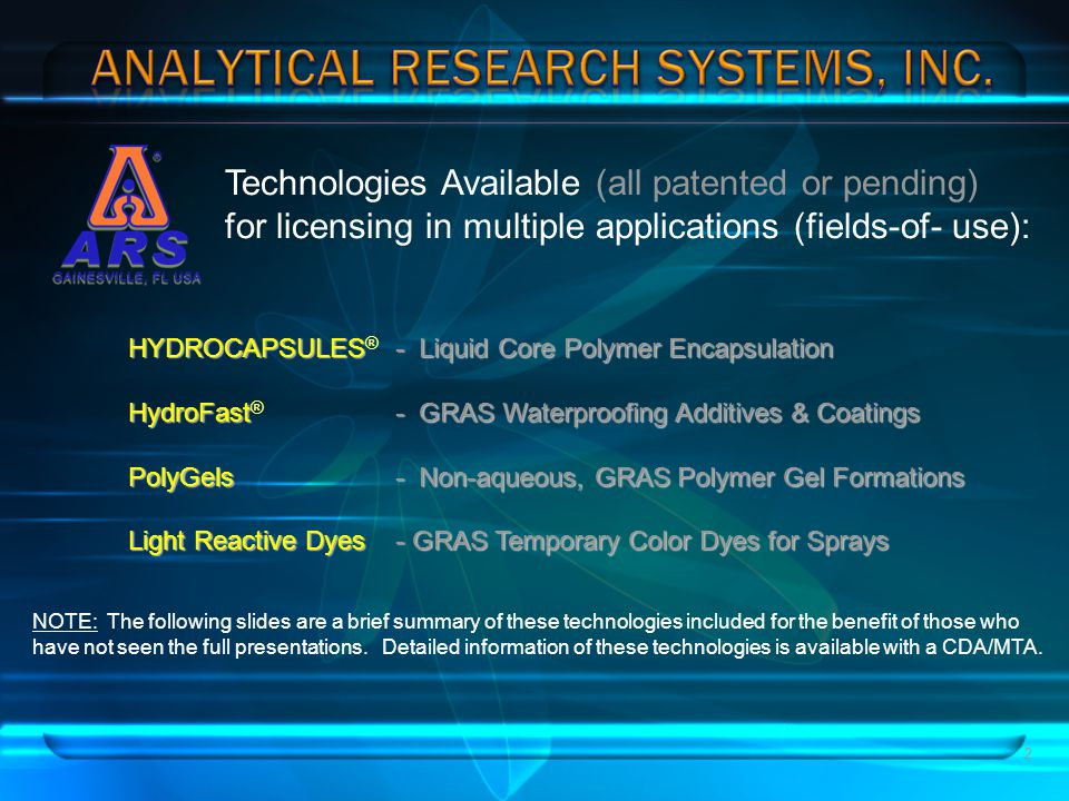 Technologies Available (all patented or pending)