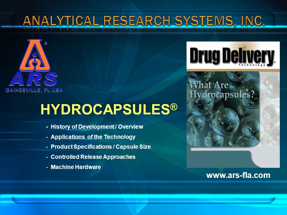 HYDROCAPSULES® www.ars-fla.com - History of Development / Overview