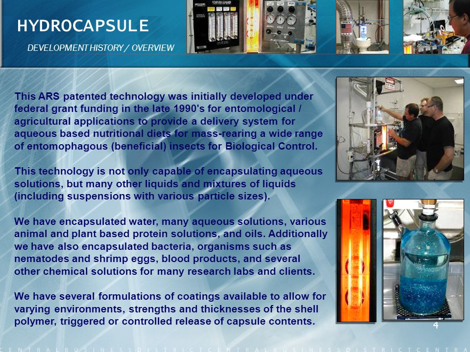 HYDROCAPSULE DEVELOPMENT HISTORY / OVERVIEW.