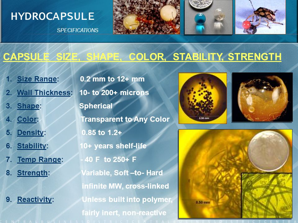 HYDROCAPSULE CAPSULE SIZE, SHAPE, COLOR, STABILITY, STRENGTH