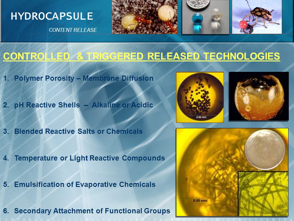 HYDROCAPSULE CONTROLLED & TRIGGERED RELEASED TECHNOLOGIES
