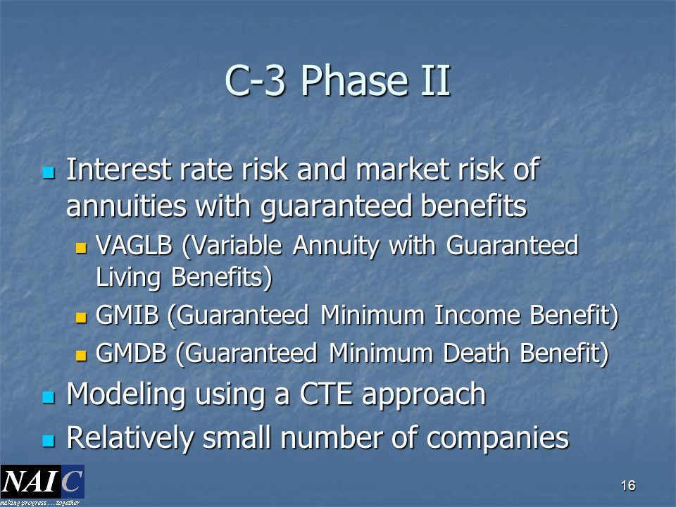 C-3 Phase II Interest rate risk and market risk of annuities with guaranteed benefits. VAGLB (Variable Annuity with Guaranteed Living Benefits)
