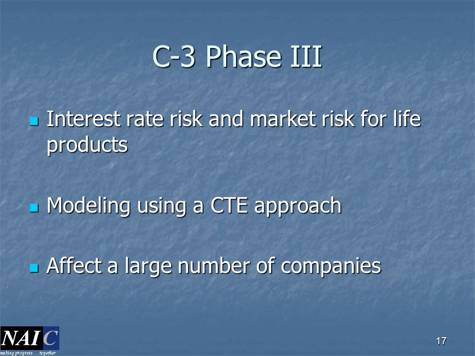 C-3 Phase III Interest rate risk and market risk for life products