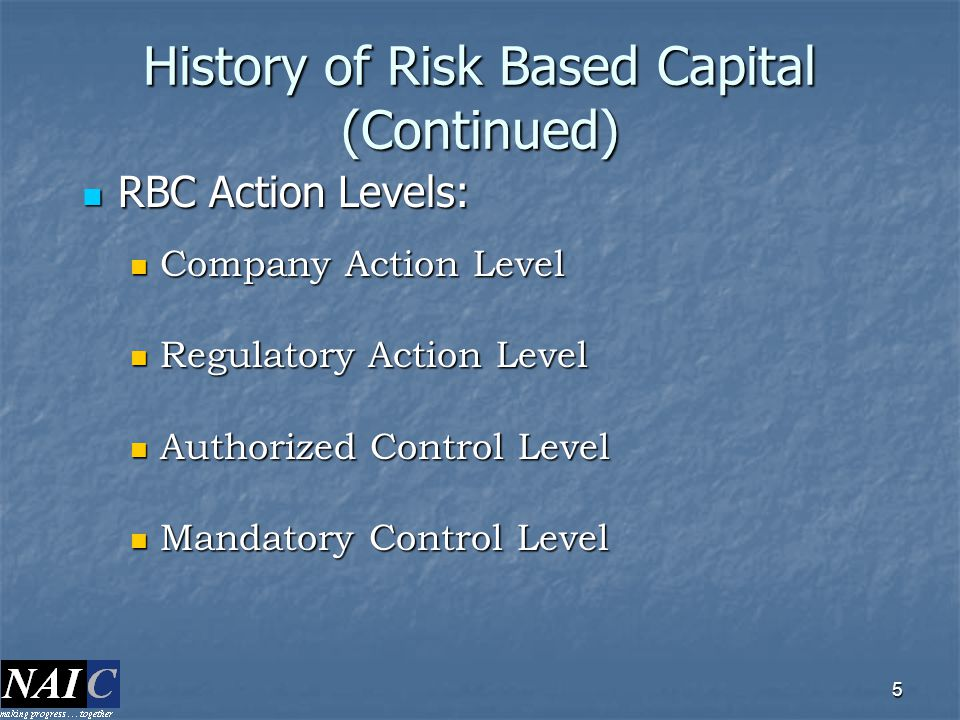 History of Risk Based Capital (Continued)