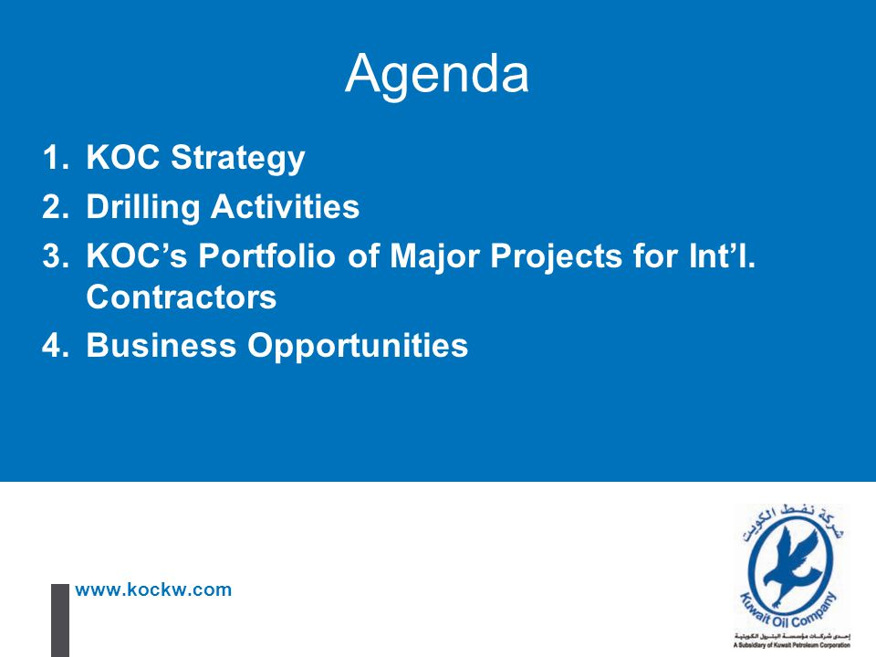 Agenda KOC Strategy Drilling Activities