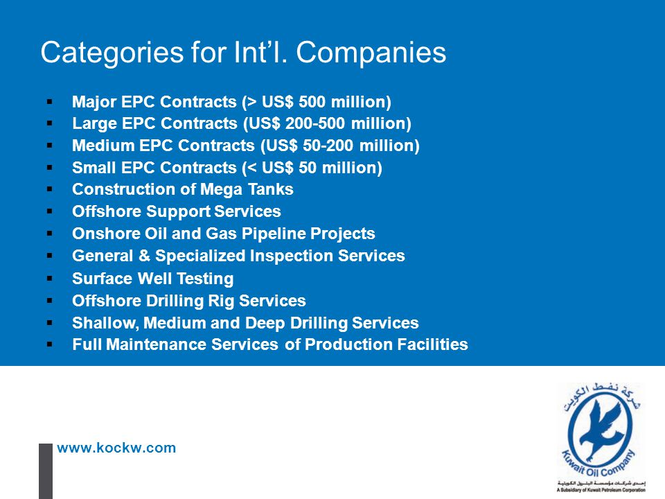 Categories for Int'l. Companies