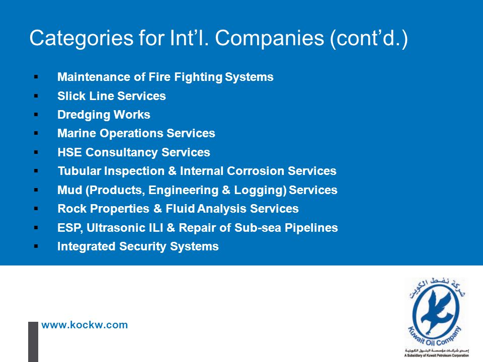 Categories for Int'l. Companies (cont'd.)