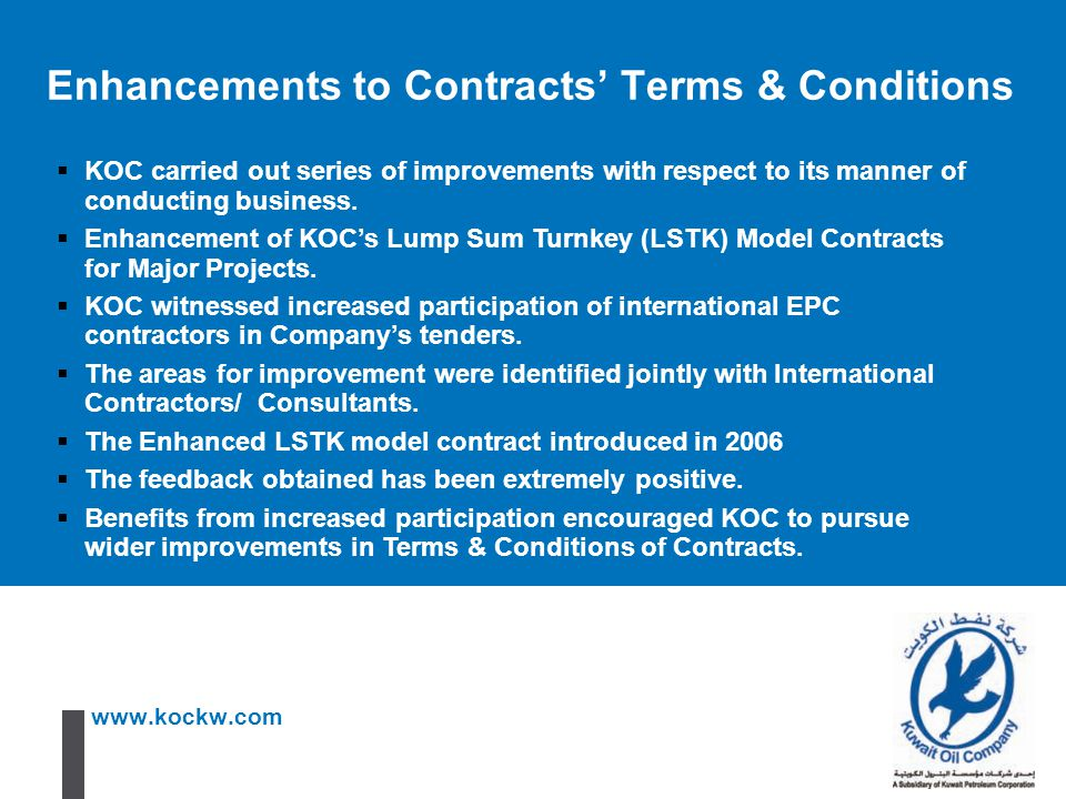 Enhancements to Contracts' Terms & Conditions