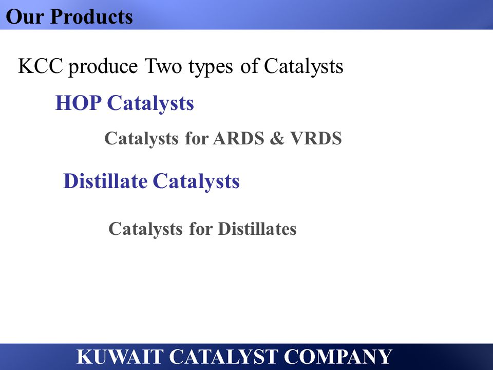 KCC produce Two types of Catalysts