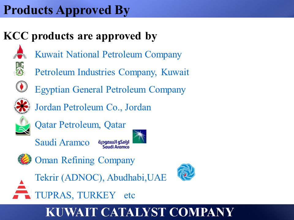 Products Approved By KCC products are approved by