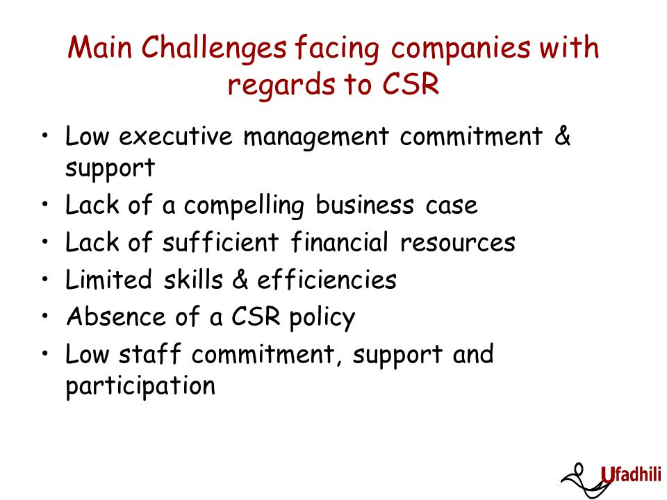 Main Challenges facing companies with regards to CSR