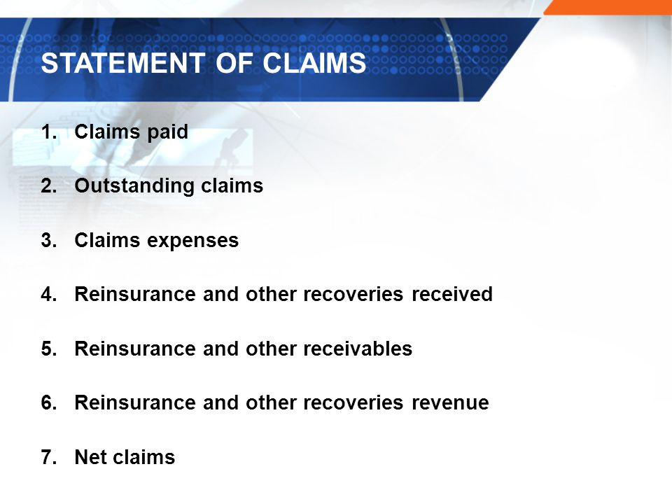 STATEMENT OF CLAIMS Claims paid Outstanding claims Claims expenses