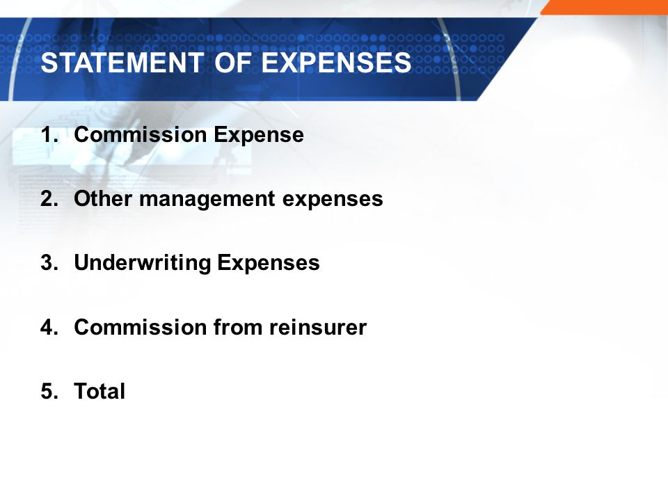 STATEMENT OF EXPENSES Commission Expense Other management expenses