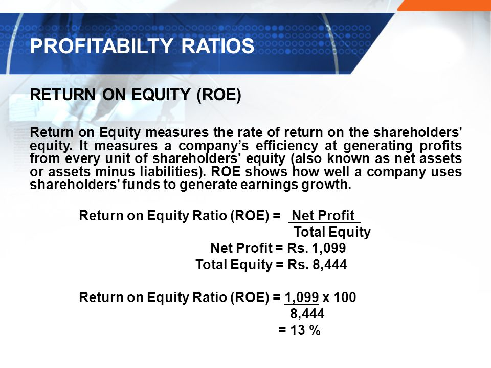 PROFITABILTY RATIOS RETURN ON EQUITY (ROE)