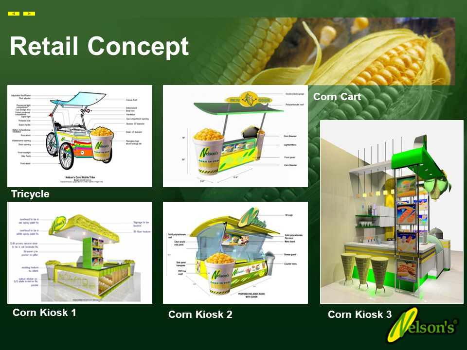 Retail Concept Corn Cart Tricycle Corn Kiosk 1 Corn Kiosk 2