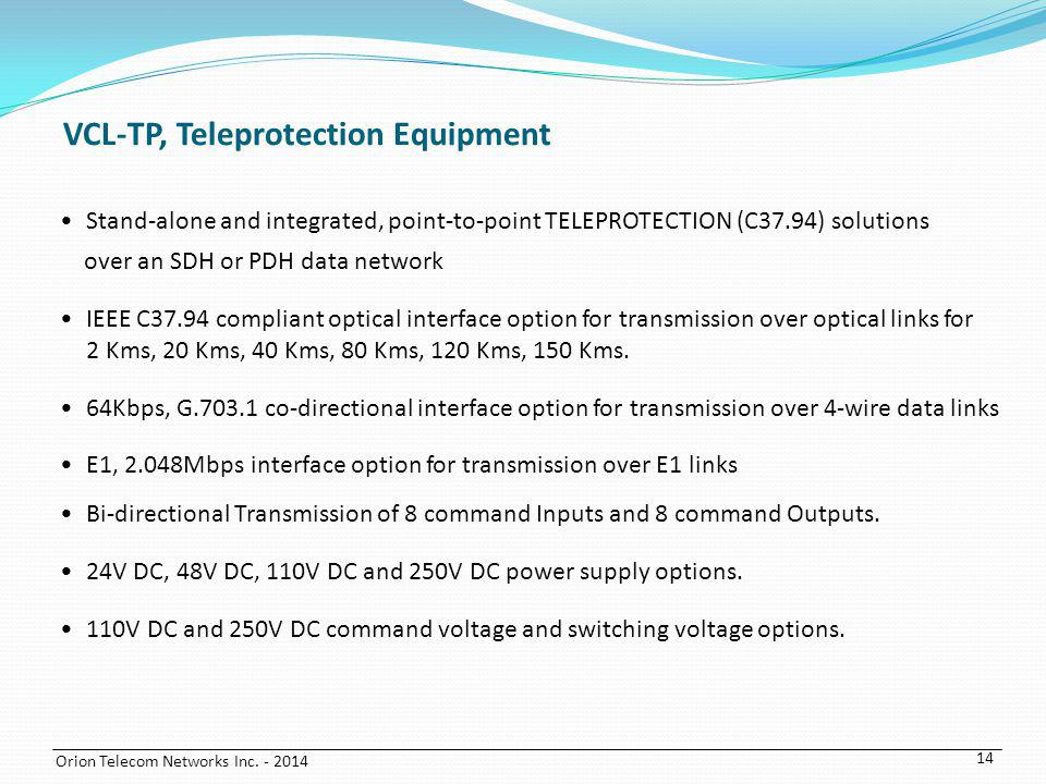 VCL-TP, Teleprotection Equipment