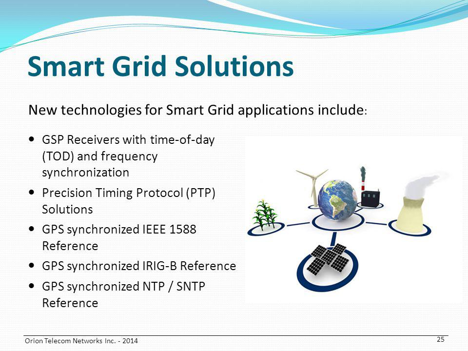 Smart Grid Solutions New technologies for Smart Grid applications include: GSP Receivers with time-of-day (TOD) and frequency synchronization.