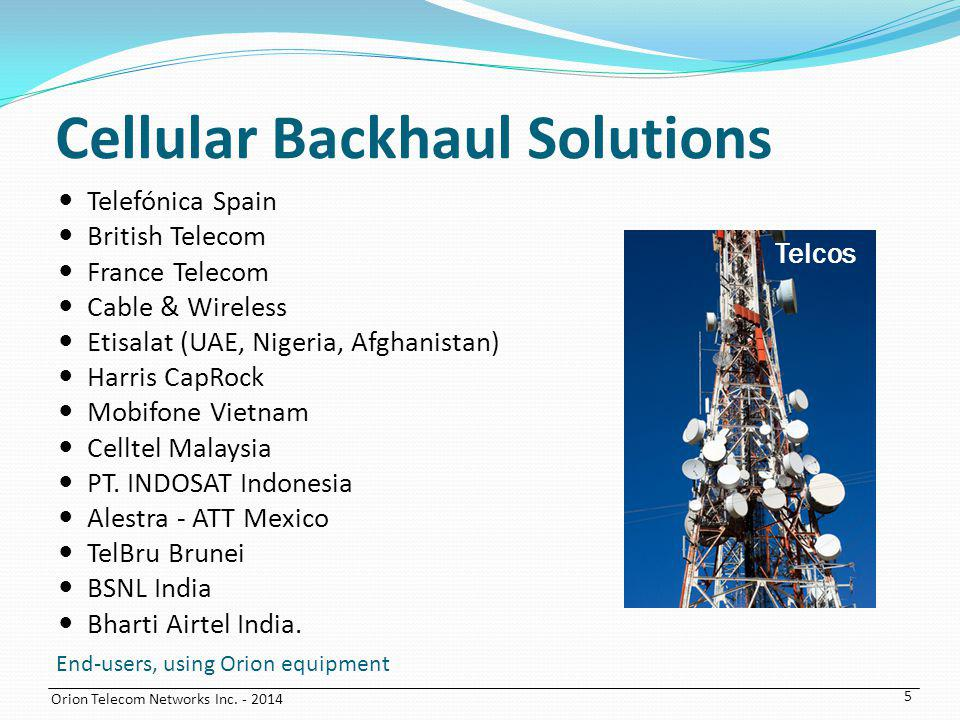 Cellular Backhaul Solutions