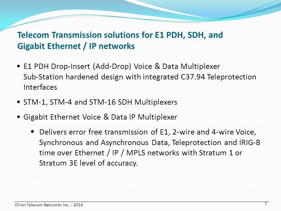 Telecom Transmission solutions for E1 PDH, SDH, and Gigabit Ethernet / IP networks