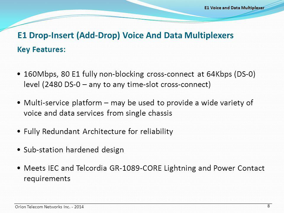 E1 Drop-Insert (Add-Drop) Voice And Data Multiplexers