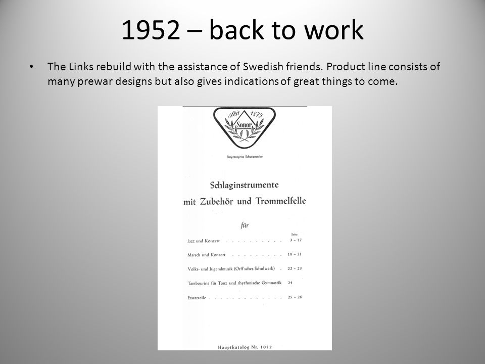1952 – back to work