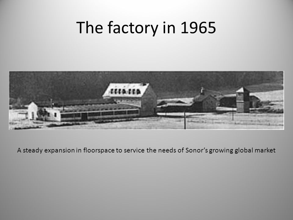 The factory in 1965 A steady expansion in floorspace to service the needs of Sonor's growing global market.