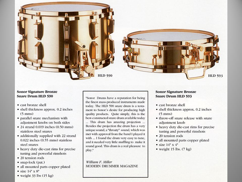 1988 The Signature Bronze Snare Drums