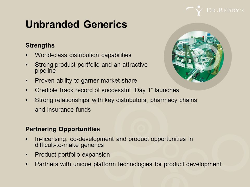 Unbranded Generics Strengths • World-class distribution capabilities