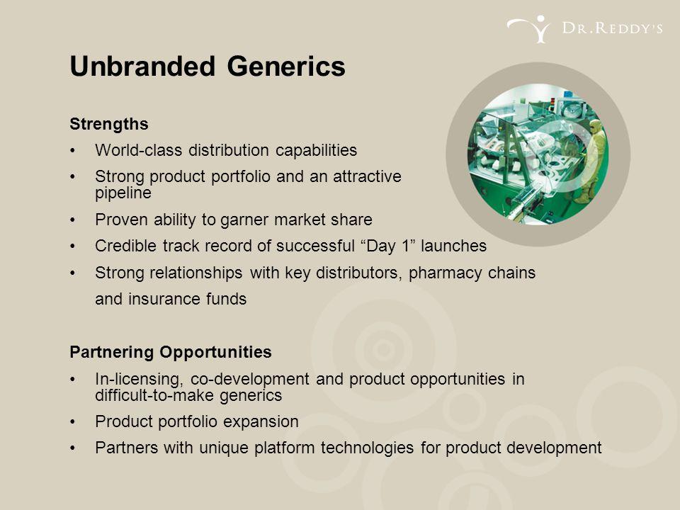 Unbranded Generics Strengths • World-class distribution capabilities