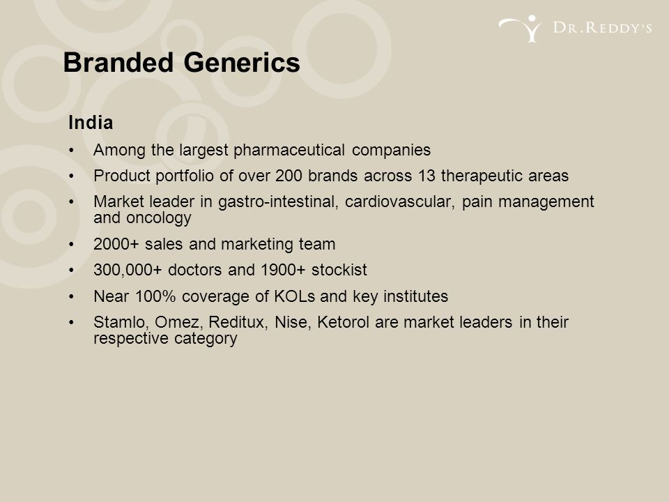 Branded Generics India Among the largest pharmaceutical companies