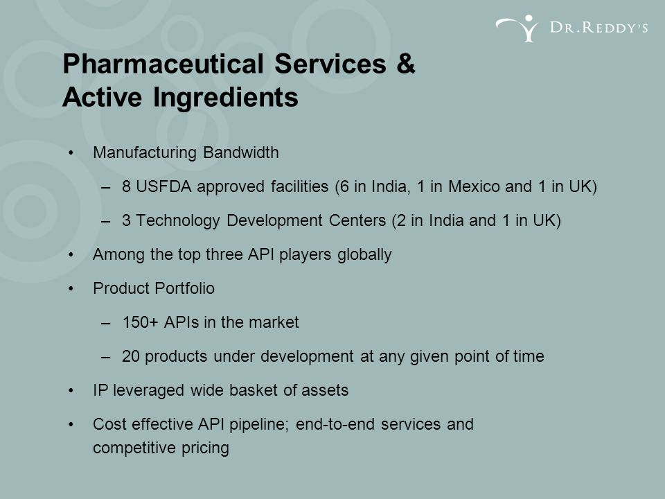 Pharmaceutical Services & Active Ingredients