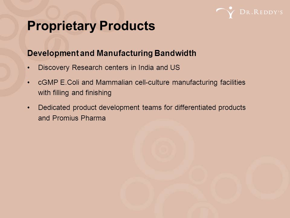 Proprietary Products Development and Manufacturing Bandwidth