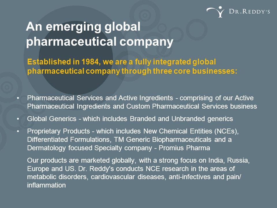 An emerging global pharmaceutical company
