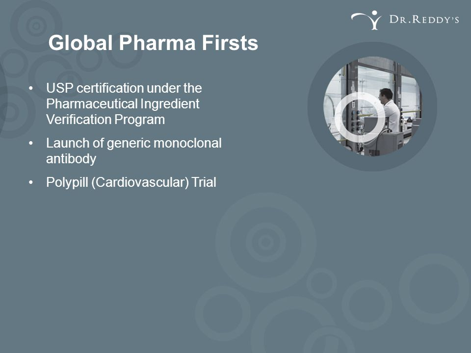 Global Pharma Firsts USP certification under the Pharmaceutical Ingredient Verification Program. Launch of generic monoclonal antibody.