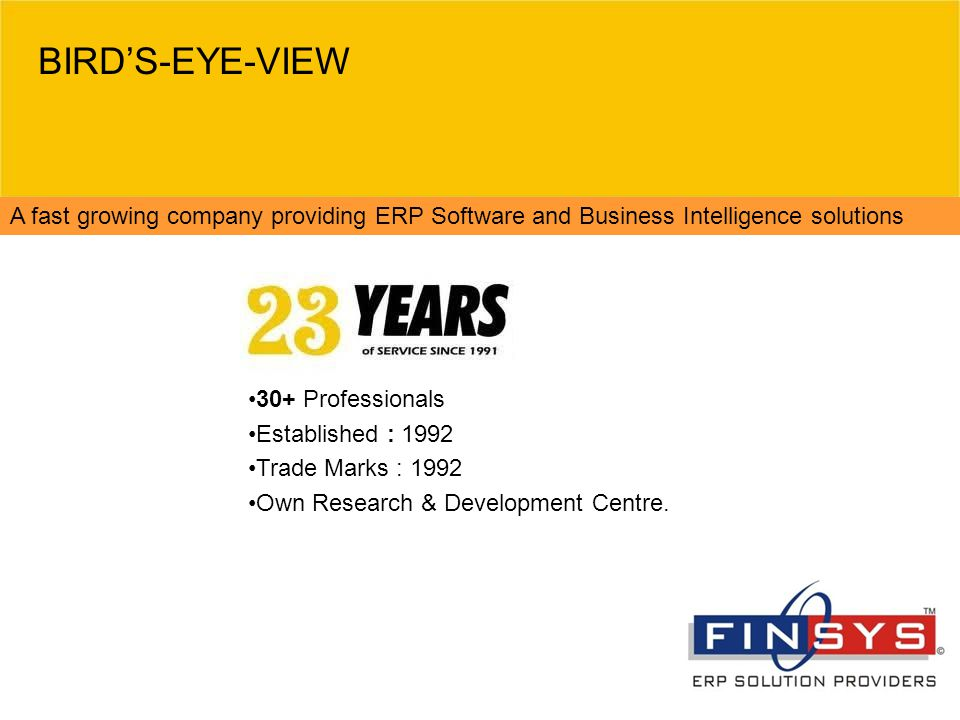 BIRD'S-EYE-VIEW A fast growing company providing ERP Software and Business Intelligence solutions. 30+ Professionals.