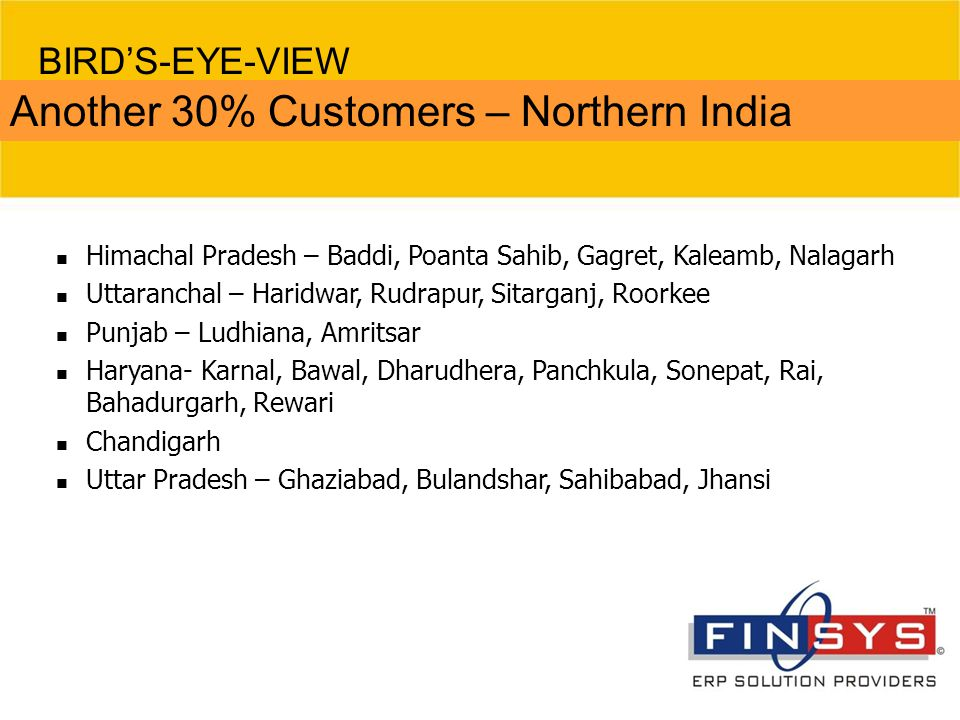 Another 30% Customers – Northern India