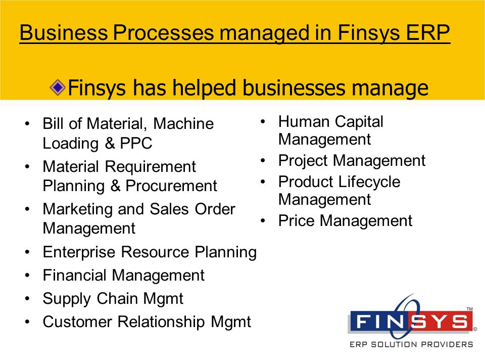 Business Processes managed in Finsys ERP