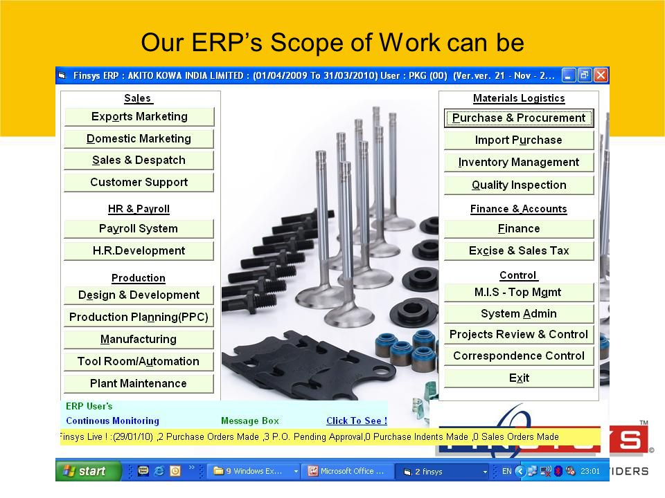 Our ERP's Scope of Work can be