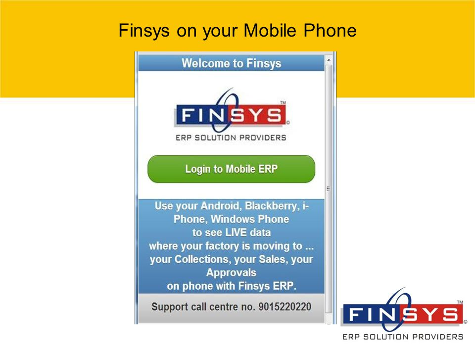 Finsys on your Mobile Phone