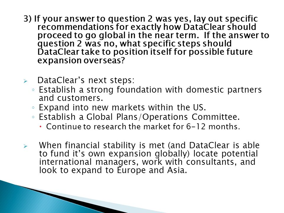 DataClear's next steps: