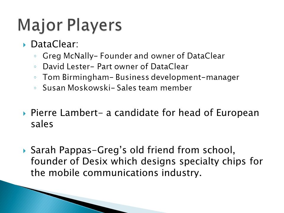 Major Players DataClear: