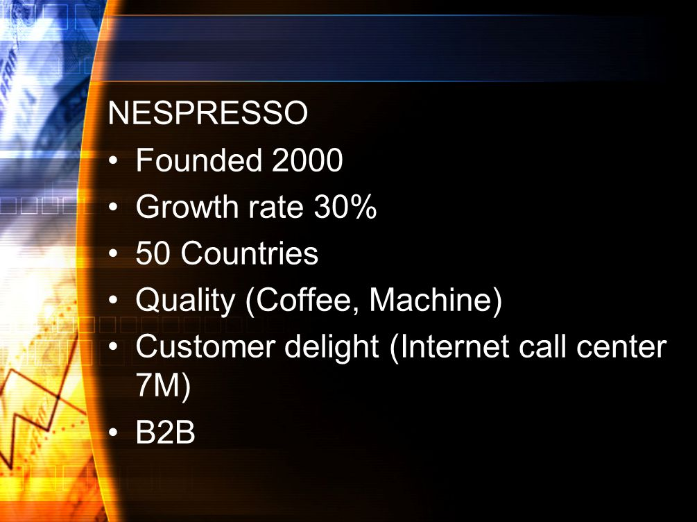 NESPRESSO Founded 2000. Growth rate 30% 50 Countries. Quality (Coffee, Machine) Customer delight (Internet call center 7M)