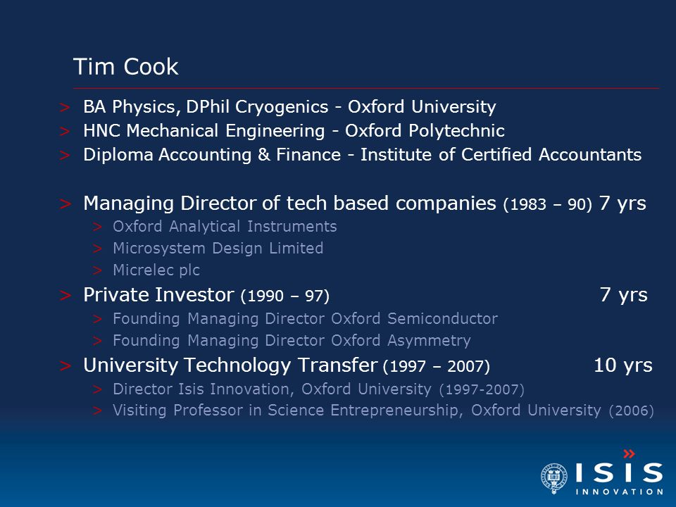Tim Cook Managing Director of tech based companies (1983 – 90) 7 yrs