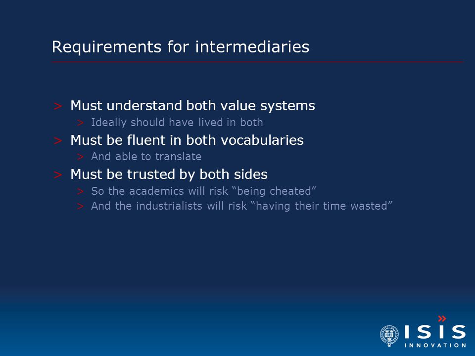 Requirements for intermediaries