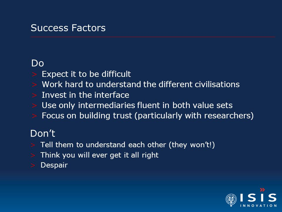 Success Factors Do Don't Expect it to be difficult
