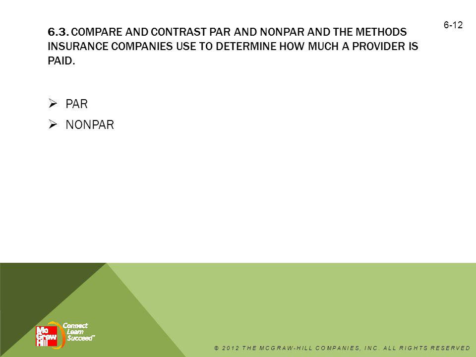 6.3. Compare and contrast PAR and nonPAR and the methods insurance companies use to determine how much a provider is paid.