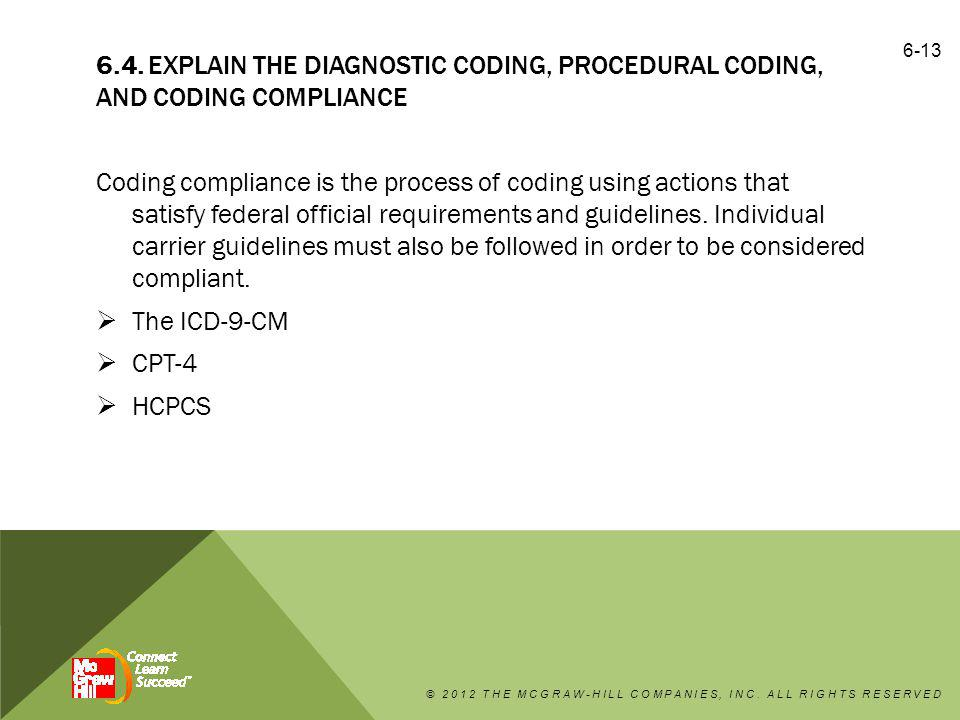 6.4. Explain the diagnostic coding, procedural coding, and coding compliance
