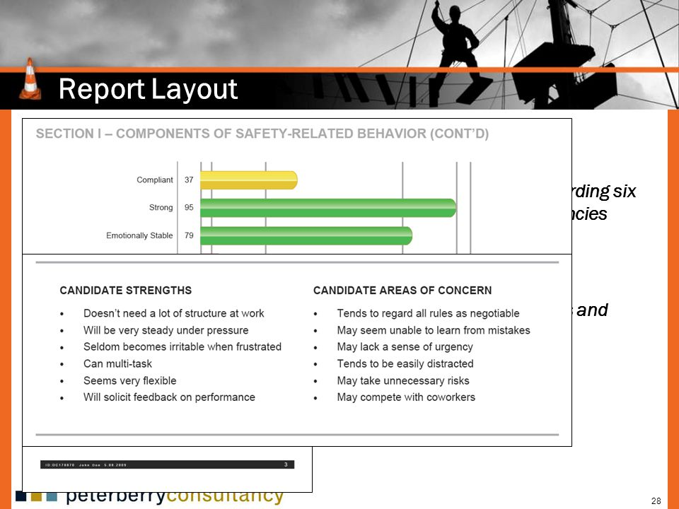 Report Layout Provides feedback regarding six safety-related competencies. Safety-related strengths and development needs.